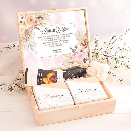SKRZYNKA Podziękowanie dla Rodziców Pastelowe Kwiaty z FILIŻANKAMI