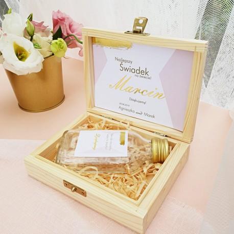 PREZENT dla Świadka w drewnianym pudełku KACÓWKA Kolekcja Różowe Złoto