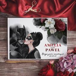 KSIĘGA GOŚCI weselnych Batman&Catwoman BIAŁE/CZARNE KARTKI