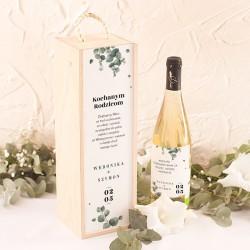 SKRZYNKA drewniana na alkohol Podziękowanie dla Rodziców Świeży Eukaliptus