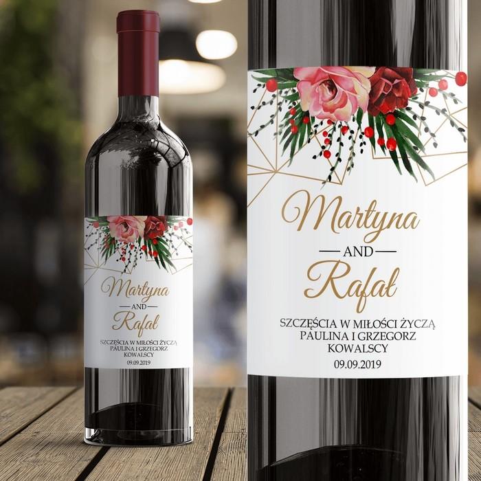 Etykieta Na Wino Dla Pary Młodej Na Prezent Weselny