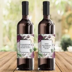 SKRZYNIA na 2 wina prezent dla Pary Młodej Purple Peony (+etykiety)
