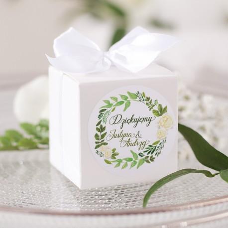 PUDEŁECZKA kwadrat Zielony Wianek 10szt (+etykiety) (+kokardki)
