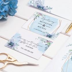 ZAPROSZENIE ślubne personalizowane Błękitny Sukulent