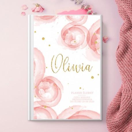 PLANER dla Panny Młodej personalizowany Różowa Akwarela