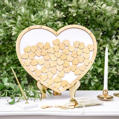 KSIĘGA GOŚCI drewniane serce + 70 serduszek