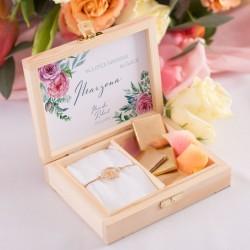 PREZENT dla Świadkowej w drewnianym pudełku Fuksjowy Jaskier