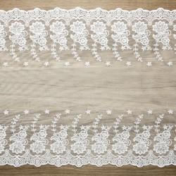 BIEŻNIK Koronka złamana biel 45cm x 9m