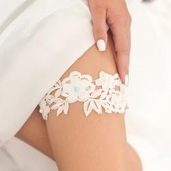 PODWIĄZKA ślubna koronkowa błękitna perełka