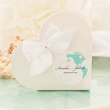 PUDEŁECZKA SERCA personalizowane Podróż Poślubna 10szt (+etykiety+biały sznureczek)