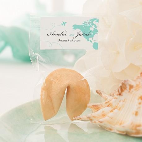 CIASTECZKO dla gości z wróżbą Podróż Poślubna (+etykieta)