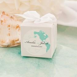 PUDEŁECZKA kwadrat Podróż Poślubna 10szt (+etykiety+kokardki)