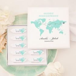 BOMBONIERKA z krówkami Podróż Poślubna SŁODKIE PODZIĘKOWANIE personalizowana