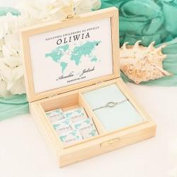 PREZENT dla Świadkowej w drewnianym pudełku Podróż Poślubna