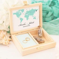 PUDEŁKO na obrączki drewniane Podróż Poślubna Z IMIONAMI