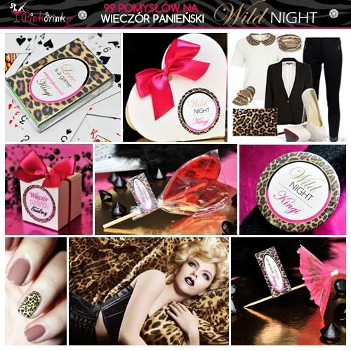 Wieczór panieński w stylu panterki. Dodatki ze zwierzęcymi cętkami, np. przypinki, pudełeczka dla dziewczyn lub paznokcie.