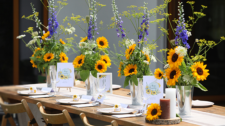 słoneczniki dekoracje weselne