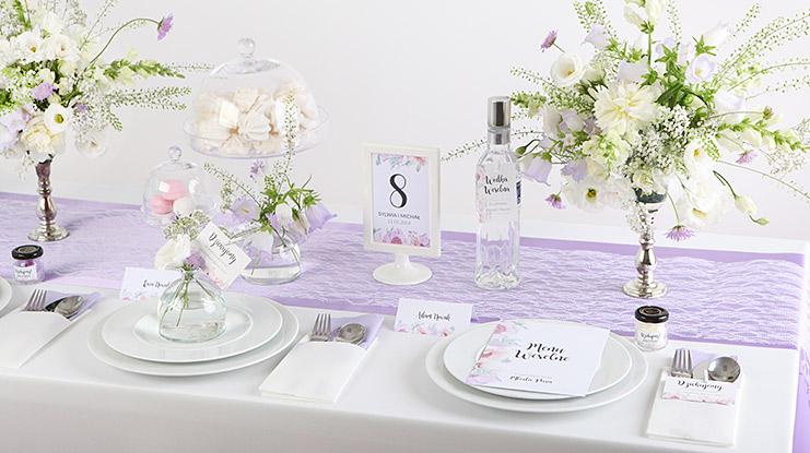 liliowe dekoracje na wesele