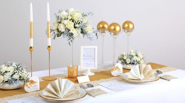 dekoracje komunijne złoty motyw