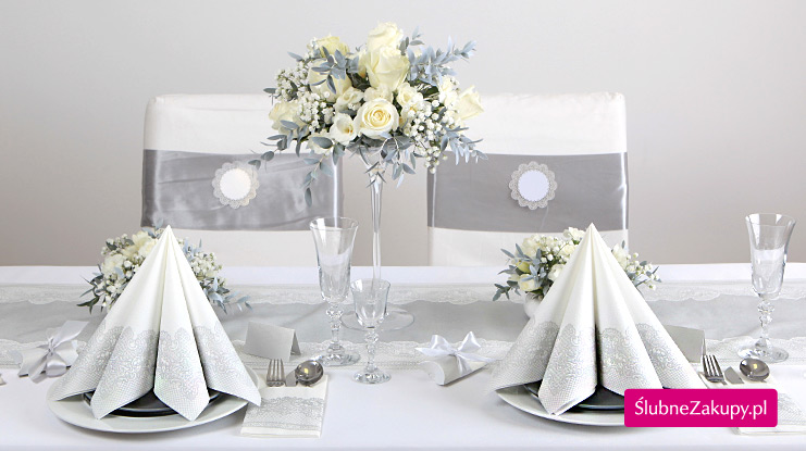 srebrne dekoracje weselne