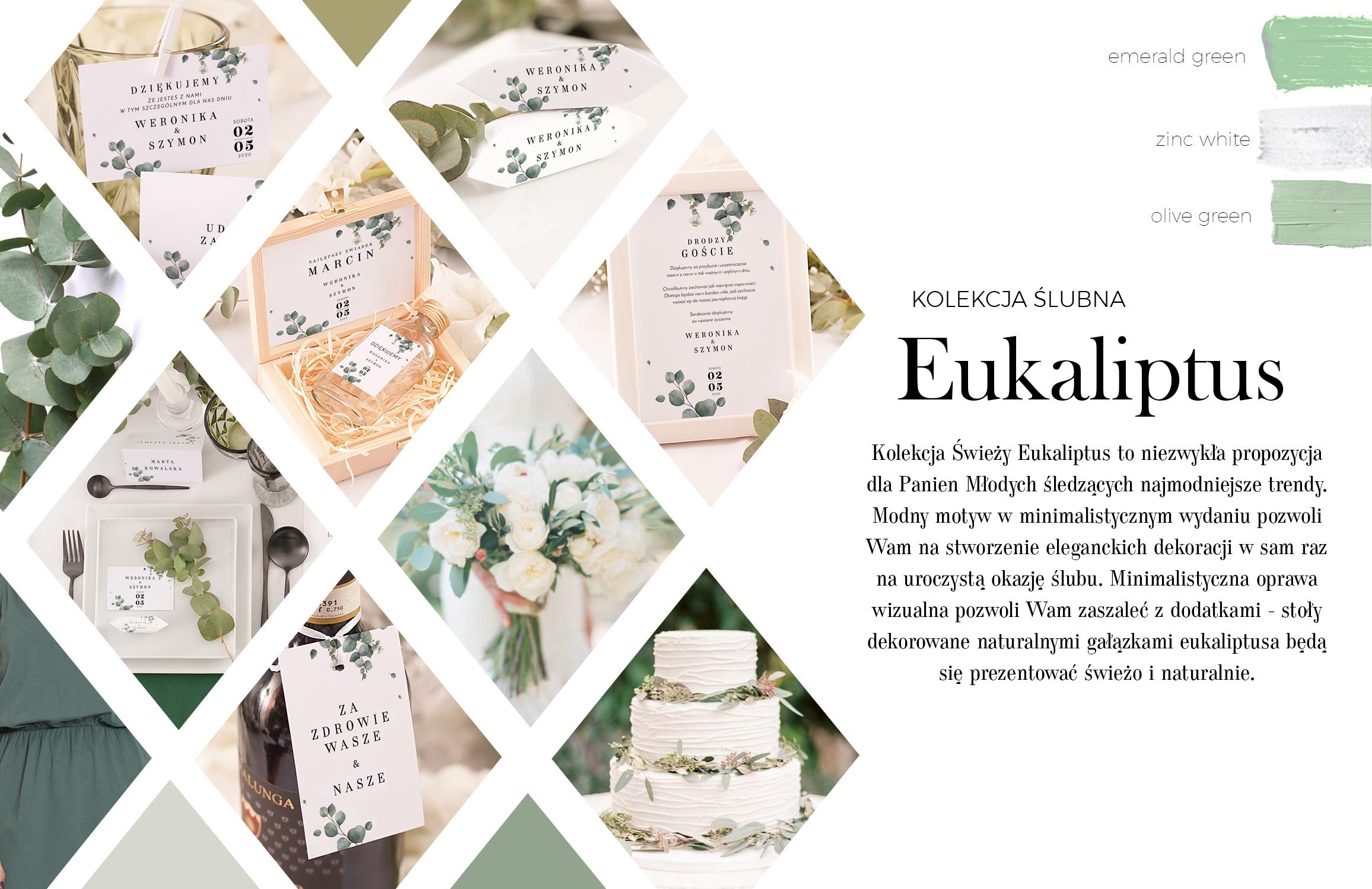 Zawieszki na wódkę weselną i podziękowania dla gości z grafiką pojedynczych gałązek eukaliptusa na białym tle.