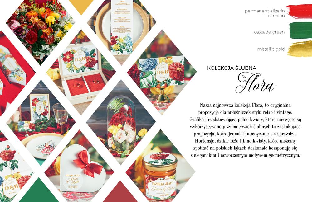 Zestaw dodatków weselnych z grafiką z żółtych, czerwonych i błękitnych kwiatów polnych na menu weselnym.
