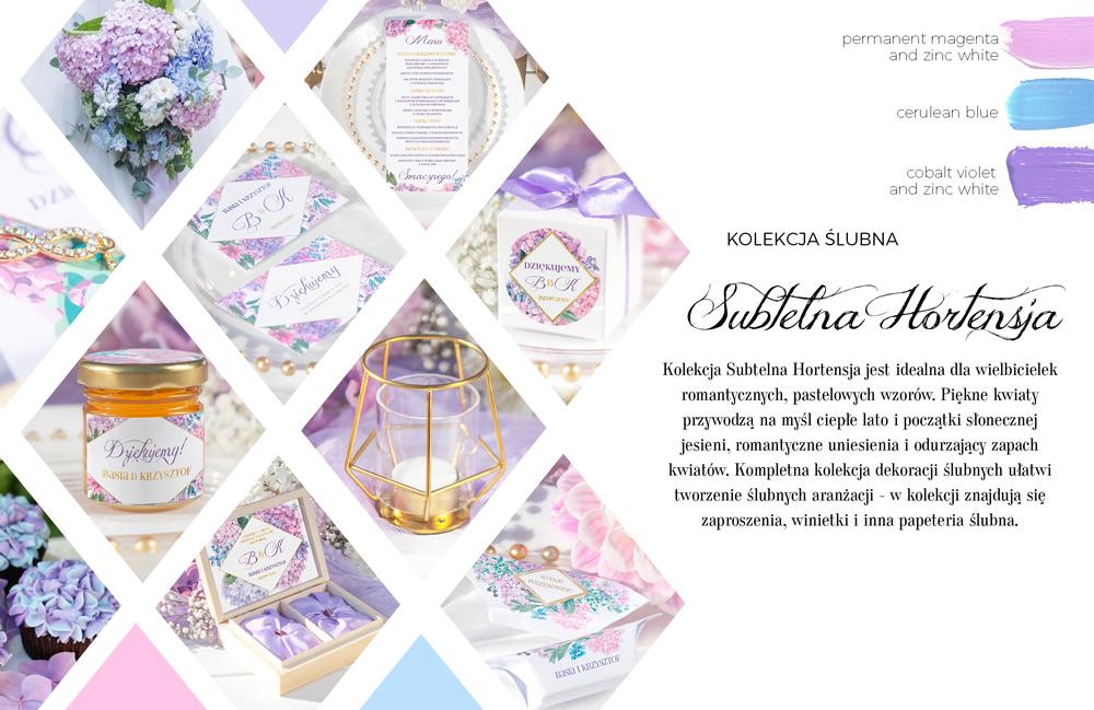 Liliowo-różowe dekoracje na ślub i wesele. Grafika bzów i hortensji w pastelowych kolorach na papeterii ślubnej.