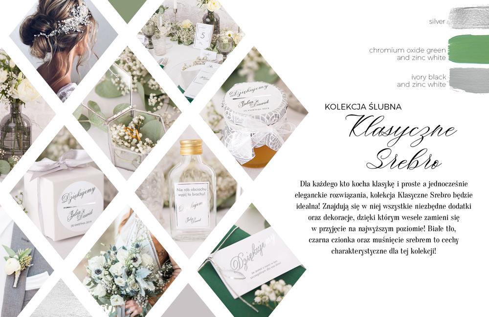 Ponadczasowe dekoracje ślubne w stylu srebrnych, błyszczących napisów na białym tle. Kolekcja dekoracji ślubnych.