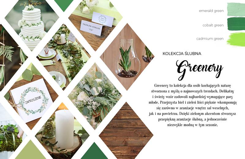 Naturalny, delikatny zestaw papeterii ślubnej z motywem okrągłego wianka z subtelnych zielonych listków na białym tle.