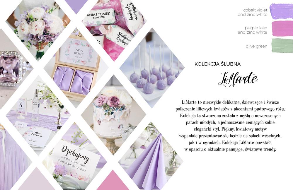 Kolekcja dodatków ślubnych i weselnych z grafiką liliowych kwiatów. Upominki dla gości i papeteria ślubna.