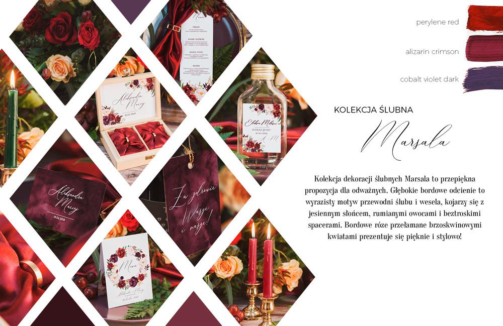Bordowa kolekcja z dodatkami na ślub i wesele w odcieniu marsala. Menu weselne i buteleczki na alkohol dla gości.