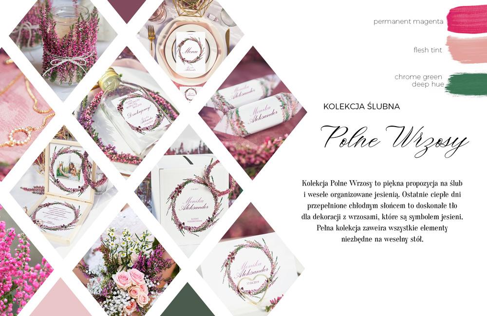 Księga gości weselnych i upominki dla gości z wiankiem z różowo-fioletowych wrzosów na białym tle.