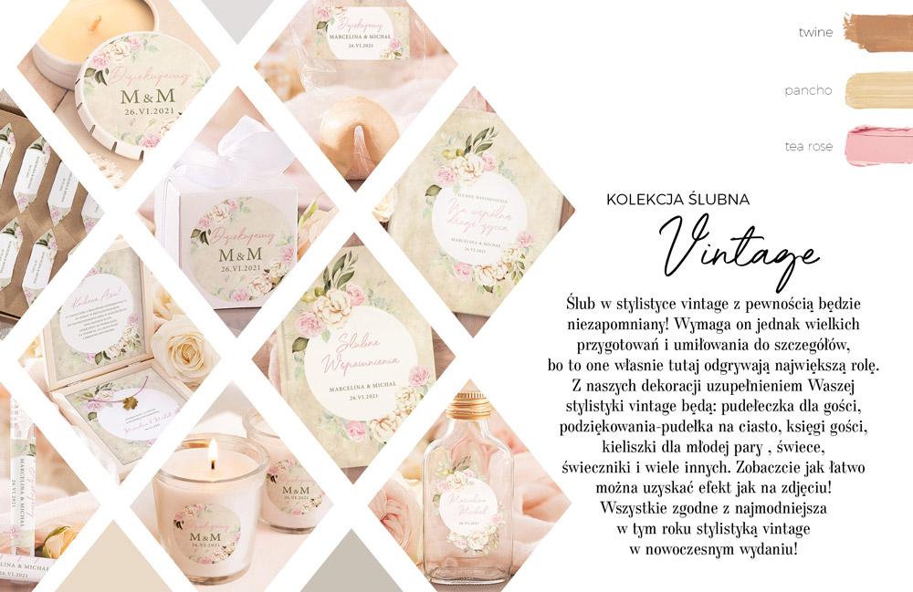 Papeteria ślubna imitująca pergamin z kwiatami róży. Ślubna kolekcja graficzna w stylu vintage.