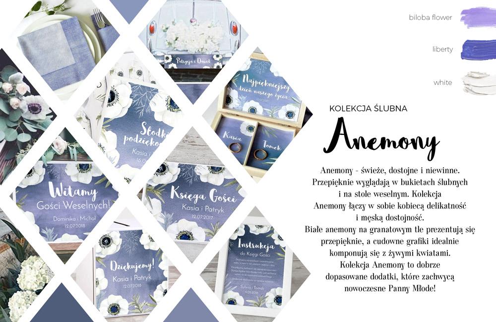 Księga gości i plakat weselny z białymi kwiatami anemonów na granatowym tle. Pudełko na obrączki i tablica na auto.