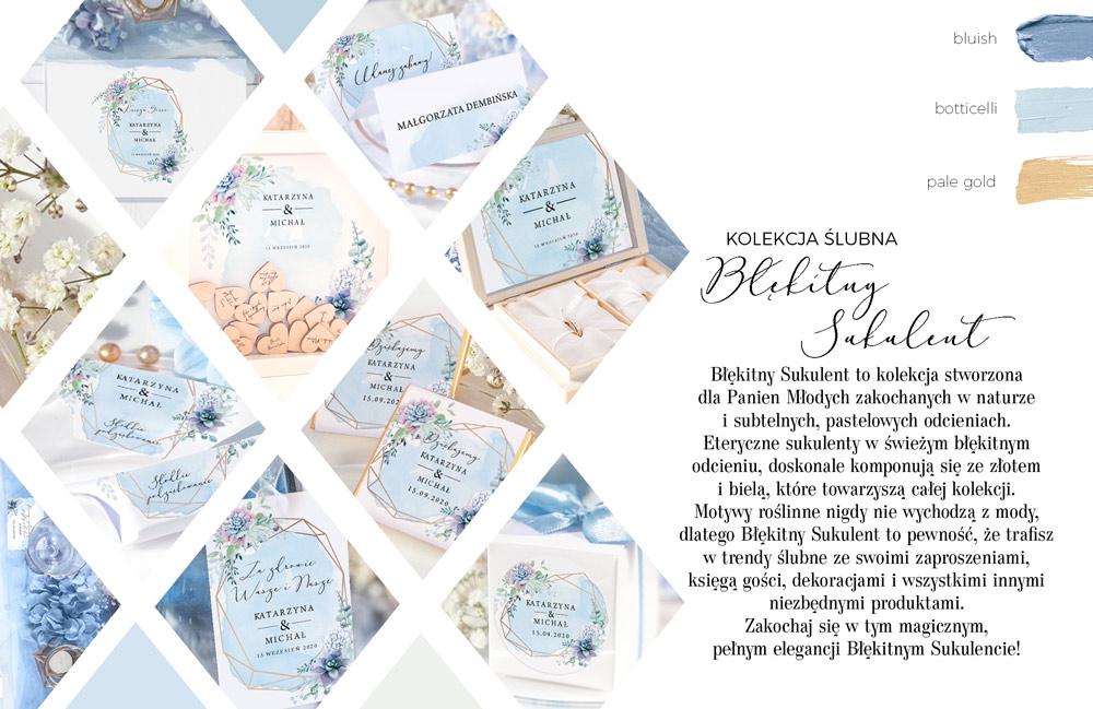 Błękitna kolekcja ślubna dekorowana sukulentami. Dekoracje na stoły weselne z geometrycznym motywem.