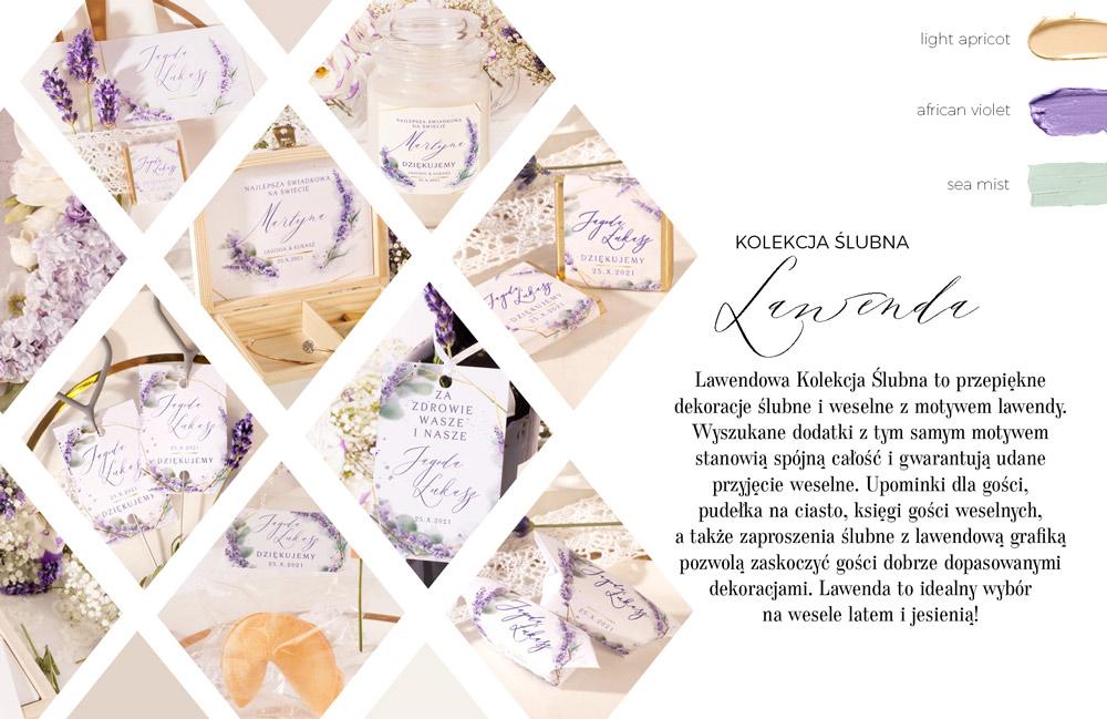 Papeteria ślubna dekorowana grafiką z bukietami z kwiatów lawendy. Czekoladki ślubne i krówki weselne dla gości.