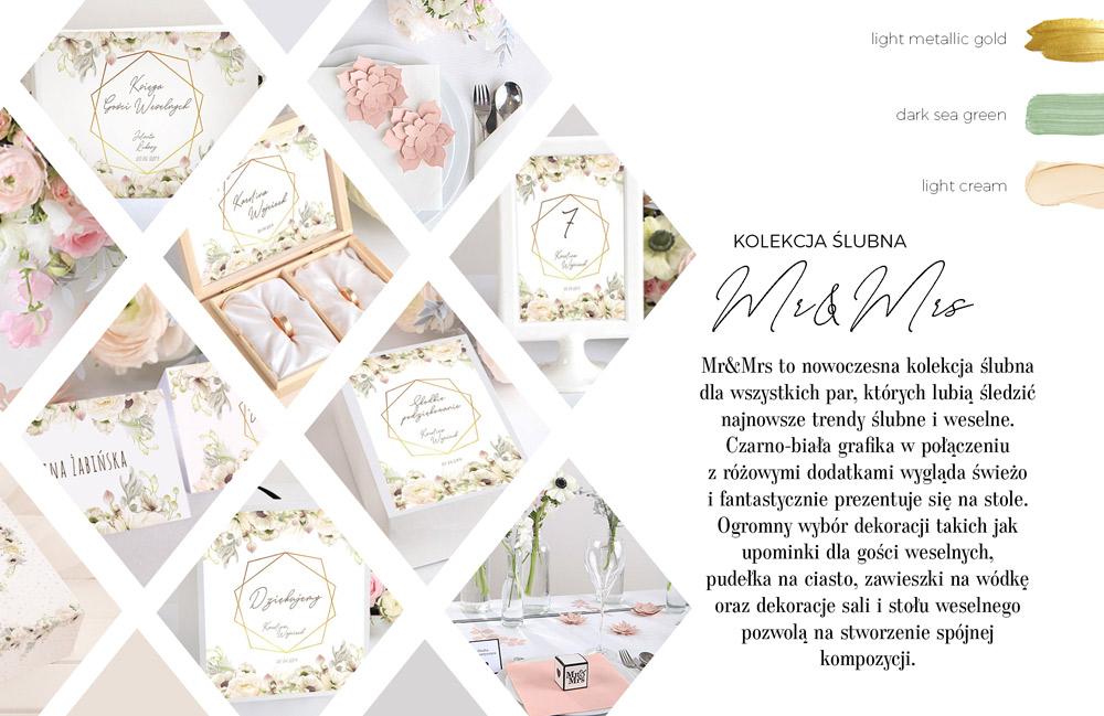 Grafika z subtelnymi kremowymi kwiatami wkomponowanymi w geometryczny wzór. Kolekcja papeterii ślubnej.
