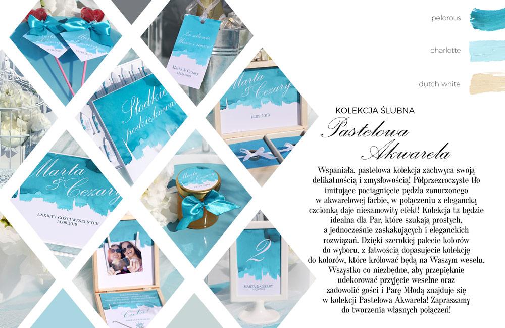 Pastelowa kolekcja dekoracji weselnych w stylu akwareli w kolorze niebieskim. Podziękowania dla gości i pudło na telegramy.