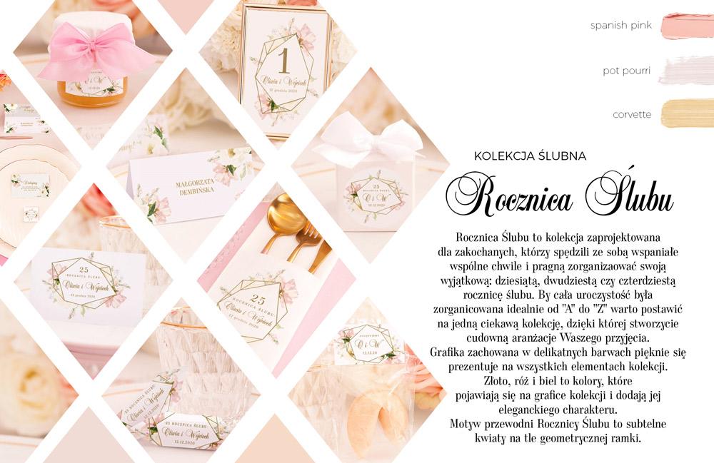 Dekoracje na rocznicę ślubu z grafiką geometrycznego wzoru z różowymi kwiatami. Prezenty na rocznicę.