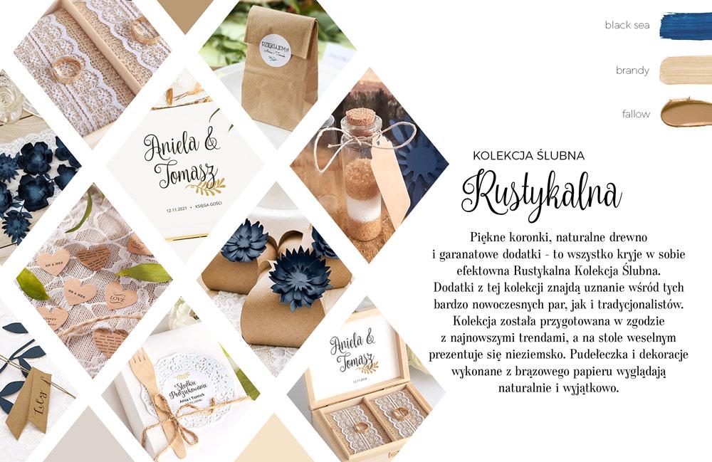Dodatki na ślub i wesele w stylu rustykalnym z granatowymi akcentami. Papeteria wykonana na papierze kraftowym.