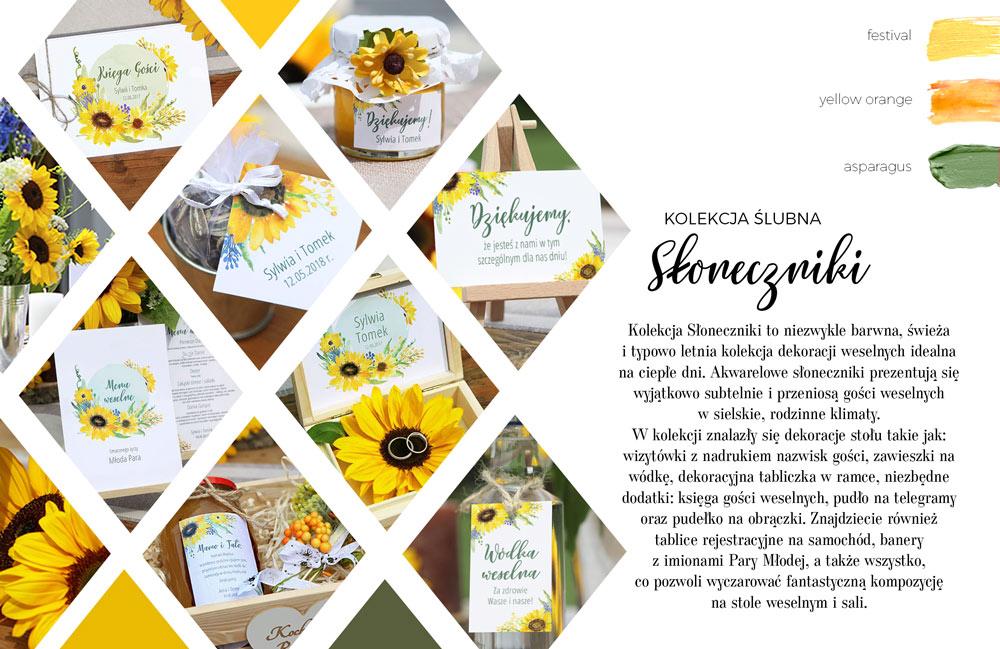 Dekoracje weselne w naturalnym stylu z grafiką dzikich słoneczników. Bileciki do prezentów dla gości i menu weselne.
