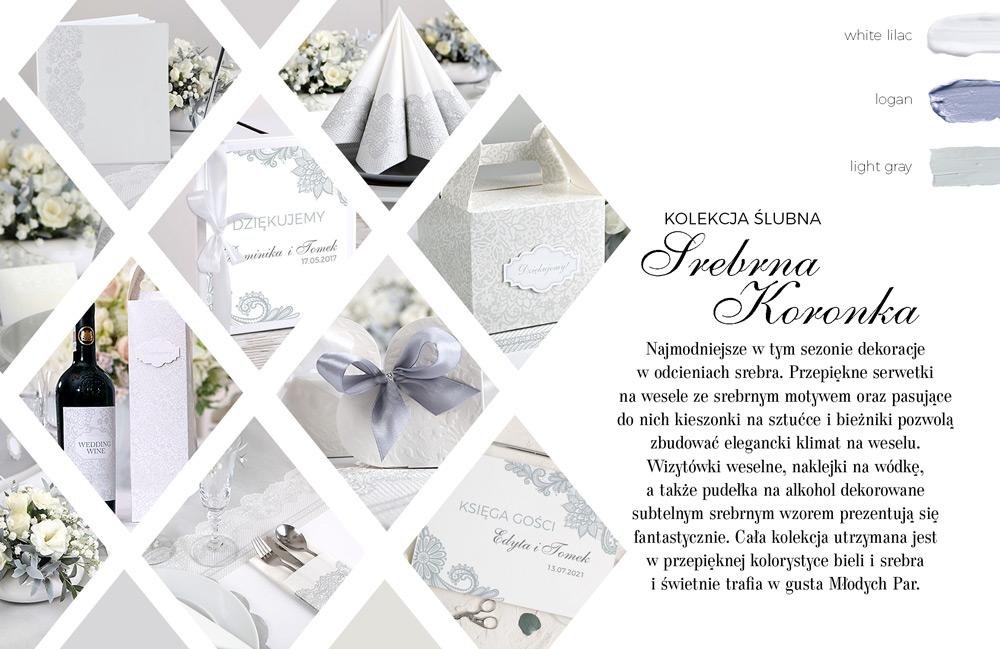 Zestaw ślubnych dekoracji w klasycznym stylu. Białe tło zdobione srebrną ażurową koronką na księdze gości.