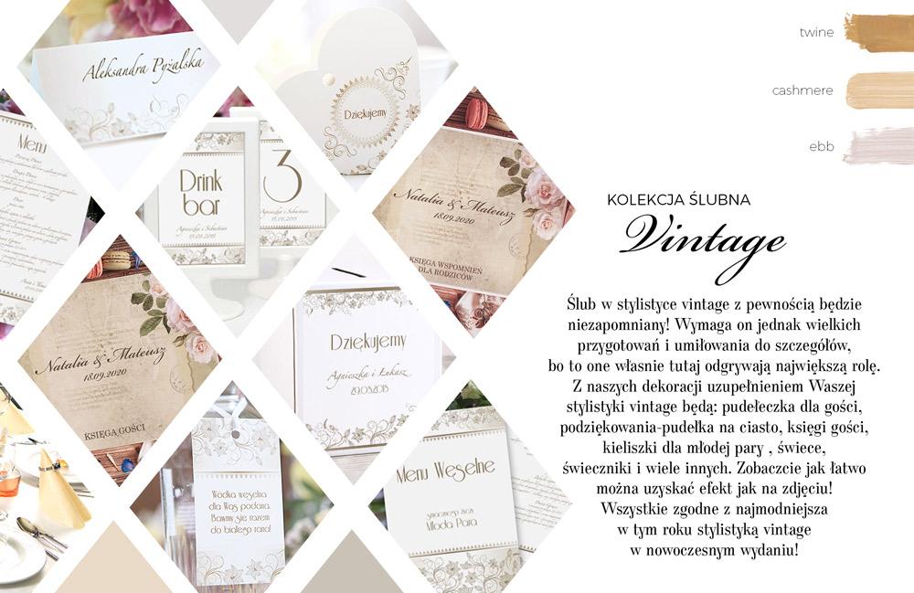 Ślubne akcenty w stylu vintage z grafiką pergaminu dekorowanego różami. Księga gości i pudło na telegramy.