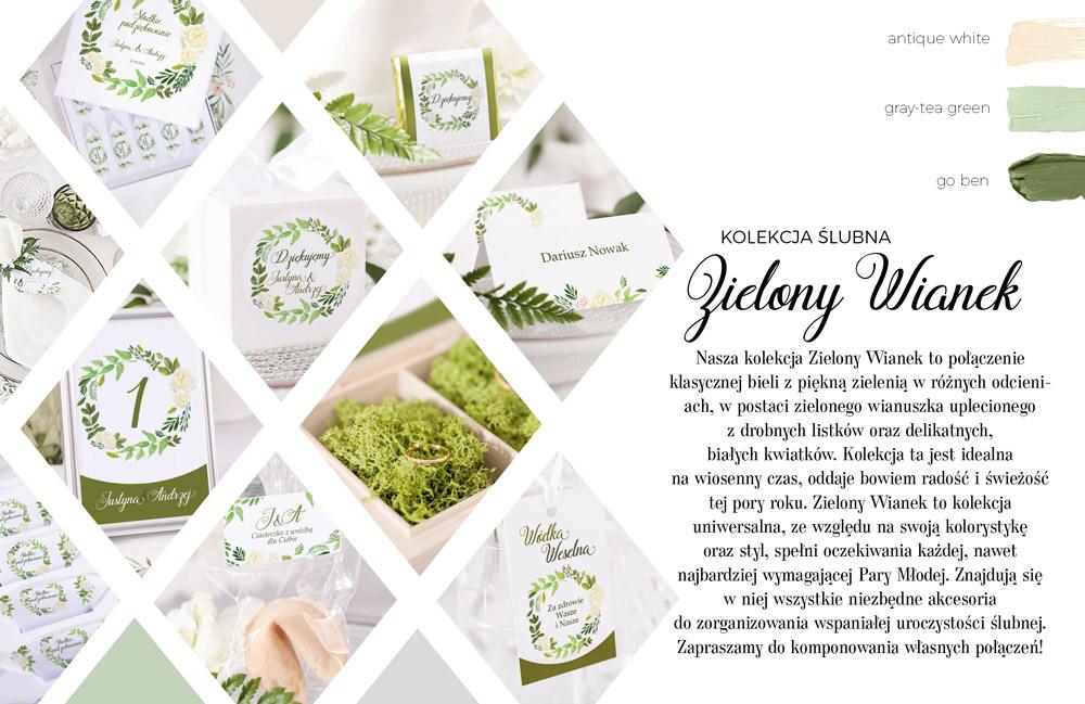 Delikatna, roślinna kolekcja papeterii ślubnej z zielonym, liściastym wiankiem. Pudło na telegramy ślubne.