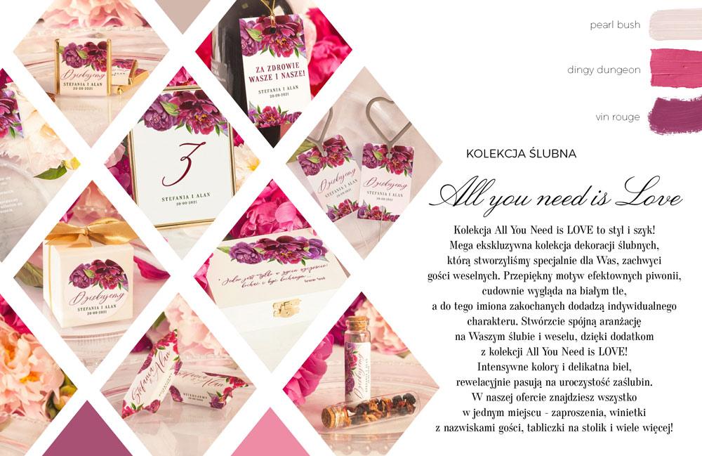 Dodatki weselne z mocną grafiką fioletowych i purpurowych kwiatów. Wizytówki i tabliczki na stół weselny.