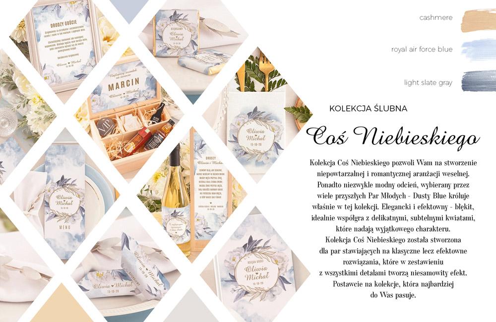 Kolekcja dekoracji ślubnych w kolorze dusty blue. Podziękowania dla świadków i rodziców, podziękowania dla gości weselnych.
