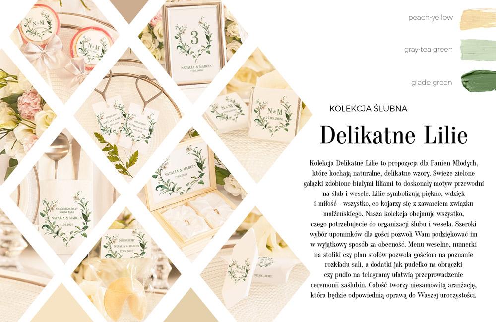 Kolekcja papeterii ślubnej. Grafika na białym tle przedstawia zielone gałązki z białymi kwiatami lilii.