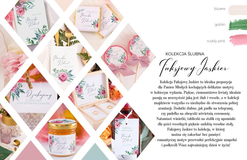 Lizaki dla gości, pudełko na obrączki ślubne i papeteria ślubna zdobione różowymi kwiatami jaskra na białym tle.