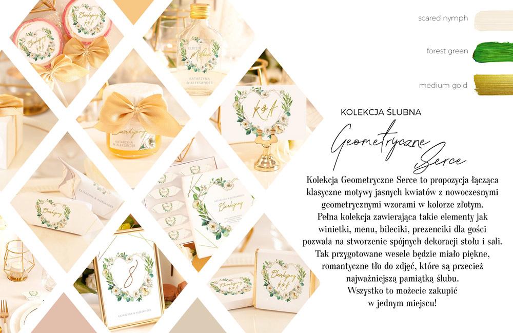 Dekoracje na stół weselny z geometrycznym złotym sercem oplecionym białymi kwiatami. Upominki dla gości weselnych.