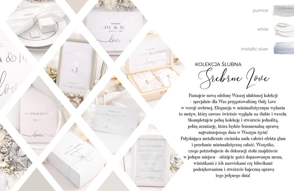 Nowoczesna kolekcja dekoracji ślubnych. Papeteria z białym tłem i srebrnymi, metalicznymi napisami z połyskiem.